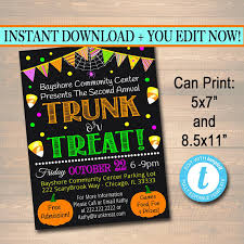 editable trunk or treat flyer invitation printable halloween