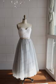 silver grey dresses wedding strapless ivory lace silver grey tulle tea length wedding