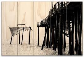 wood print b w frisco pier large 18 5 x 27 5 custom planked wood print