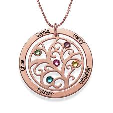 sted personalized jewelry family tree birthstone necklace with gold plating