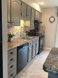 how to paint oak cabinets grey gray painted oak cabinets and kitchen makeover tuesday
