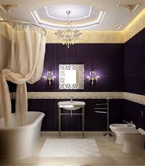 chic purple wall paint for bathroom idea with fancy white jacuzzi