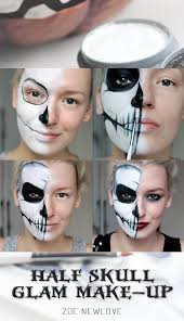 half face halloween makeup ideas tutorial half skull tutorials and halloween makeup