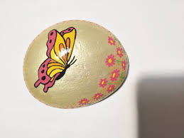 pink yellow orange butterfly hand painted rock home decor rock art