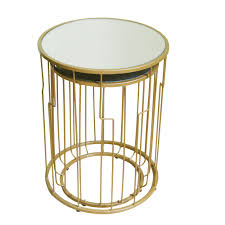 Drum Accent Table by Homepop Metal Accent Table Gold Base Glass Top Set Of 2 Homepop