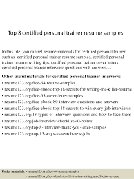 Personal Resume Samples by Top 8 Certified Personal Trainer Resume Samples 1 638 Jpg Cb U003d1433498842
