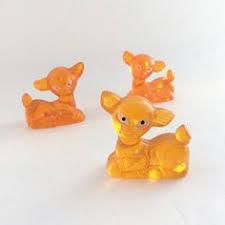1960s lucite deer family kitsch ornaments orange deer vintage