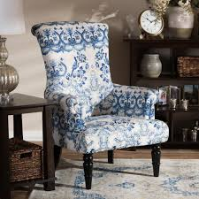living room upholstered chairs baxton studio darlington blue print fabric upholstered chair 28862