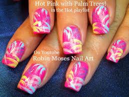 nail art neon pink palm trees in rainbow nails diy nail