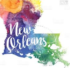Map Of New Orleans Louisiana New Orleans Louisiana Vector Watercolor Map Stock Vector Art