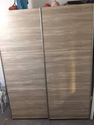 Argos Oak Furniture Hygena Bergen 2 Shelf 2 Rail Large Sliding Wardrobe Oak Effect