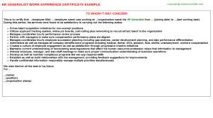 Hr Generalist Resume Samples by Hr Generalist Work Experience Certificate