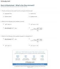quiz u0026 worksheet what u0027s the discriminant study com
