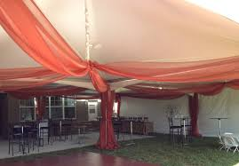 party people event decorating company rust tent organza wedding