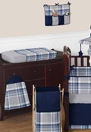 Plaid Crib Bedding Navy Blue And Grey Plaid Boys Baby Bedding 9pc Crib Set By Sweet