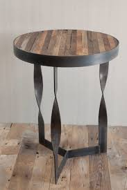 Reclaimed Wood Side Table Twisted Steel Reclaimed Wood Side Table By Crofthousela On Etsy