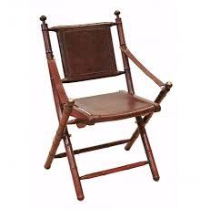 chaise de pliante très chaise pliante cuir marron bois de teck et laiton dans