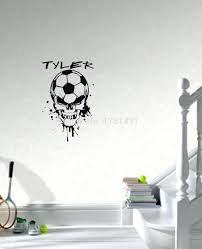 wall decor custom name soccer ball wall decal personalized amazing soccer ball skull head with custom name wall decals vinyl stickers home decor kids room decoration soccer field wall decor soccer ball skull head