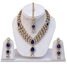 jewelry necklace rings images Blue kundan traditional necklace jewellery set with earrings for jpg