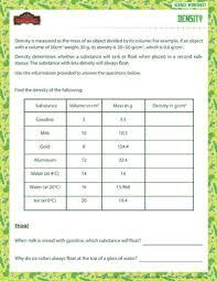density u2013 physical science worksheet for grade 6 u2013 of dragons