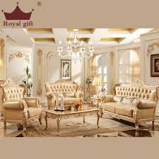 New Living Room Furniture The New Chagne Wood Sofa Combination Of High Quality Leather