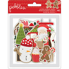 pebbles merry merry collection die cut shapes 40 pkg