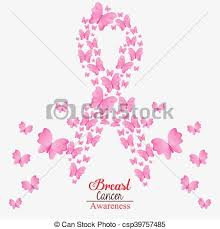 ribbon butterfly breast cancer design butterfly ribbon vector
