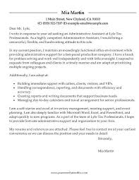 cover letter for administrative support sample administrative