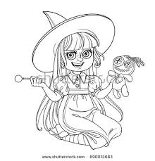 cute witch costume holding doll stock vector 690530434