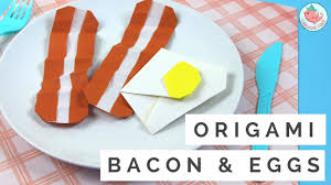 how to make origami bacon u0026 eggs origami food tutorial easy