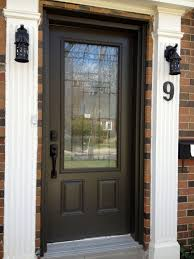 Fiberglass Exterior Doors With Glass Beauteous Brown Color Wooden Front Door With Glass Also