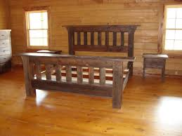 furniture barn wood bed frame in brown finished with banister