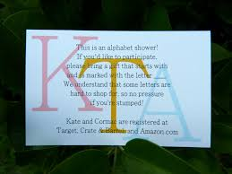 gift registry for bridal shower alphabet bridal shower invitations em for marvelous