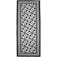 tapis de cuisine au metre utopia tapis de couloir carreaux de ciment 67x180 cm noir gris et