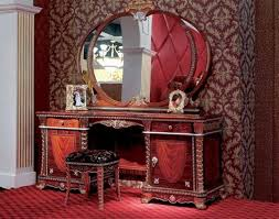 luxury wooden dressing table design with oval shaped mirror and