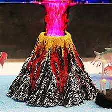 uniclife aquarium volcano ornament kit with led