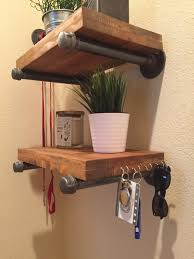 industrial pipe shelving bracket pair farmhouse decor
