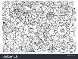 black white flower pattern coloring doodle stock vector 557347261