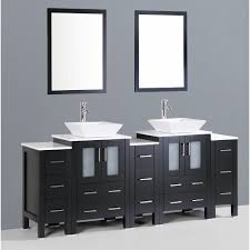 Faux Finish Bathroom Cabinets Contemporary 84 Inch Espresso Finish Double Square Sink Bathroom