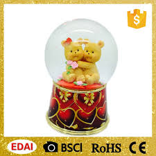 high quality led snow globe with sweetheart hugging bears kids