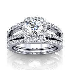white gold wedding sets brilliant simulated diamond center 2 carat halo 9k white gold