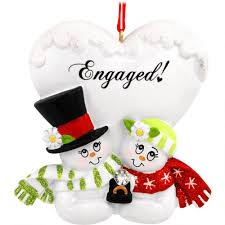 personalized engaged snowmen ornament bronner s