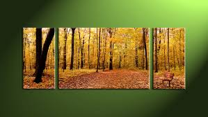 Home Decor Wiki 3 Piece Canvas Scenery Autumn Yellow Trees Artwork