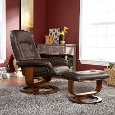 windsor brown leather recliner and ottoman set seating