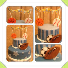 baby boy baby shower cake sports theme baseball basketball