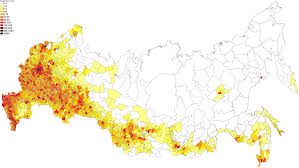 russia map by population russia population density map