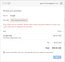 can i pay for the google play developer console using a virtual