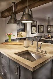 Industrial Kitchen Sink Bare Wood Modern Kitchen Countertop With A Stainless Steel Sink In