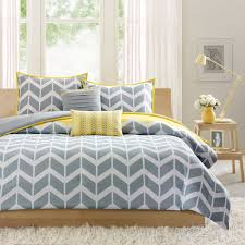 Black And Yellow Bedroom Decor by Bedroom Chevron Pattern Gray Yellow Bedding Idea And Fluffy Fur