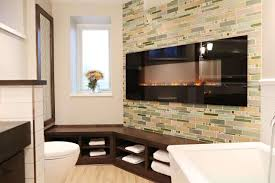 Modern Wall Units With Fireplace Bathroom Fancy Fireplace In Bathroom Combine Modern Tv Wall Unit